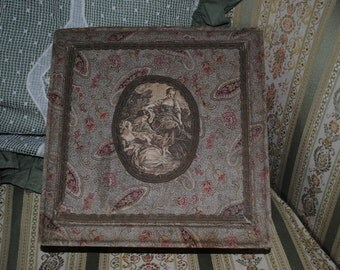 Antique FRENCH FABRIC domed BOX Paisley romantic Roses Boudoir style Marie Antoinette