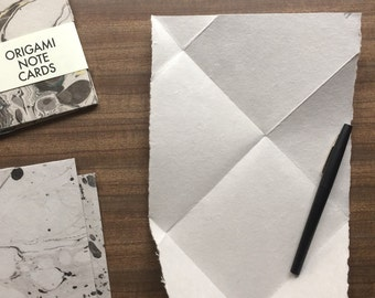 4 Black and Grey Marbled Cards - Handmade Paper Origami Note Card Set for letter writing