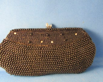 Black Beaded Clutch Purse