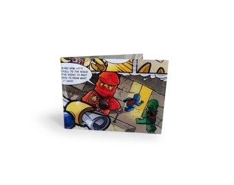 LEGO Ninjago Card Holder - Upcycled comic in vinyl - metro, rail, oyster, tube, subway, travel cards