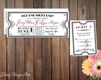 Wedding Invitation - Vintage Movie Ticket - Hollywood Theater - Invitation and RSVP Card with Envelopes