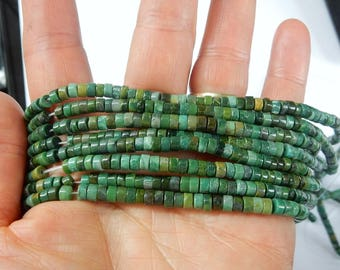 4mm  African Jade  heishi beads , full strand (16 inches)