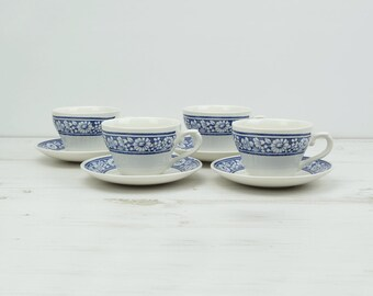 Vintage Teacup and Saucer Cup - Tea Party Floral Blue Daisy Flower England - blue flowers afternoon tea kitchenware candleholder