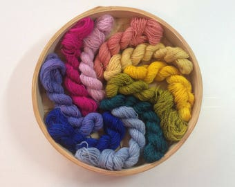 Rainbow Hand Dyed Laceweight Crewel Tapestry Embroidery Yarn No. 130, 50 grams, cobweb hand painted, wool
