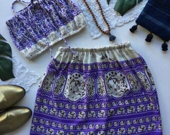 Purple lilac elephant print matching set outfit festival set fashion twin set high waist skirt rouged crop tube top