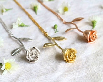 The Rose Necklace Rose Stem Pendant - choose your color, gold, silver or rose gold.