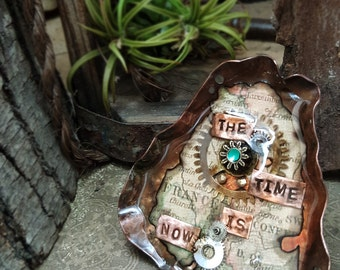 The Time Is Now - Mixed Media Art Jewelry