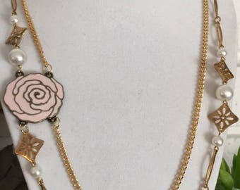 Double Chain Rose Neckalce