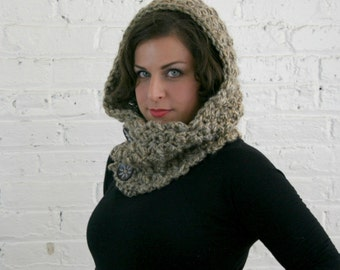 Hooded Cowl - Scoodie -  Hooded Cowl with Wooden Buttons - Granite