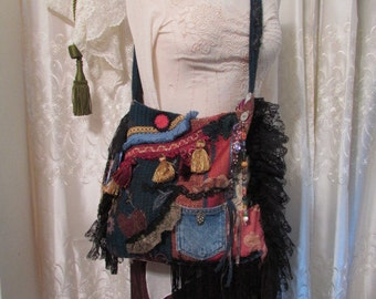 Patchwork Gypsy Bag, handmade bohemian boho, OOAK, black lace embellished beads buttons LARGE size
