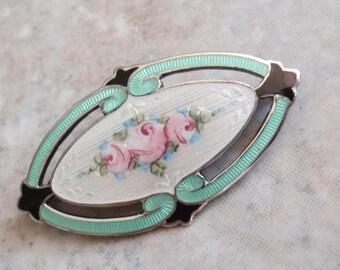 Guilloche Rose Pin Brooch Sterling Silver Enamel FA Hermann Vintage 021216RL