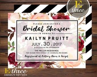 Burgundy and Blush Bridal Shower Invitations - Floral Modern Wedding Shower Invites - Floral and Black Stripes Shower Invitation