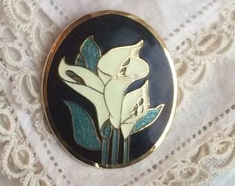 Vintage Art Nouveau style Cloisonné Calla Lily Brooch - Fish Fine Enamels
