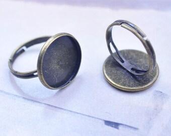 Ring, Ring blanks, Adjustable Ring Shanks, 50pcs Antique Bronze Ring, bezel tray ring, 16mm round cabochon Tray ring, finger Ring