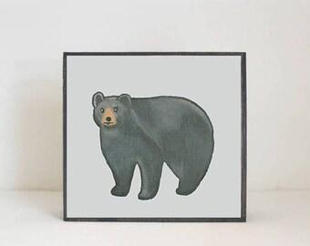 bear, woodland nursery art- black bear art print- forest animals- nursery woodland art- animal print- nursery forest -bear - redtilestudio