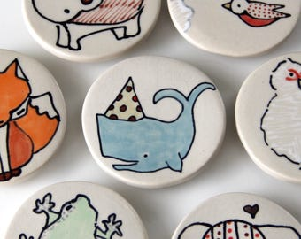 Party Whale Magnet Handmade Ceramic Refrigerator Magnet Whale Illustration Animal themed Pottery Cute Magnets Small Gifts Under 10