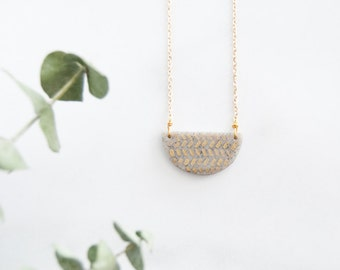 Half Moon Gold Leaf Pattern Necklace - Minimalist - Geometric - Better Half - Granite