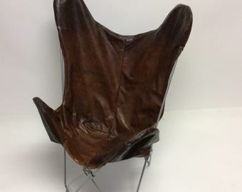 OOAK Handmade Raw Distressed Leather Walnut Brown Butterfly chair