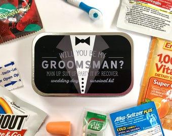 Groomsman Survival Kit, Groomsman Gift, Groomsmen Gift, Groomsman Proposal, Bridesmaid Gift, Wedding Party Gift, Wedding Survival Kit