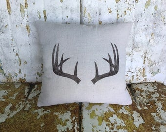 Rustic Antlers Pillow Square Cotton Farmhouse Style Vintage Printed Throw Pillow Farmhouse Cottage Rustic Home Decor