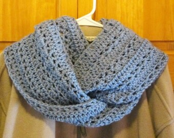Infinity Scarf, hand crocheted, stone-wash blue