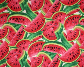 Cool and Refreshing Watermelon Slices Print Pure Cotton Fabric--By the Yard