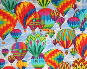 Bright and Colorful Hot Air Balloon Print Pure Cotton Fabric from Timeless Treasures--By the Yard