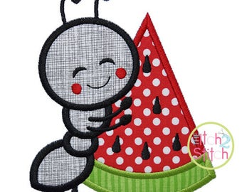 Ant Hugs Watermelon Applique Design For Machine Embroidery, shown with our Cupcake Party font NOT included, INSTANT DOWNLOAD now available