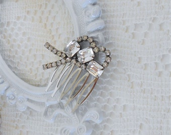 Crystal Hair Comb, Art Deco Hair Comb, Bridal Hair comb, Upcycled Vintage, Small Hair Comb, Rhinestone Hair Comb, Wedding Hair Jewelry