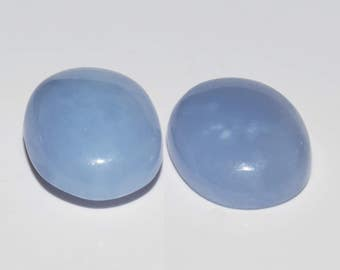 CHALCEDONY  (33684)  * * * PAIR (2 Stones)  Durable Blue Gray Chalcedony Cab  / Cabochon