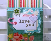 Love You Valentine Greeting Card Polly's Paper Studio