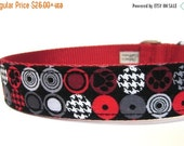 ON SALE Red and Black Paw Prints Houndstooth Dog Collar