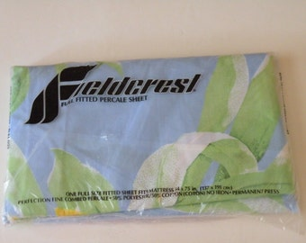 On Sale Vintage Fieldcrest Full/Double fitted percale sheet Floral Print New in Package