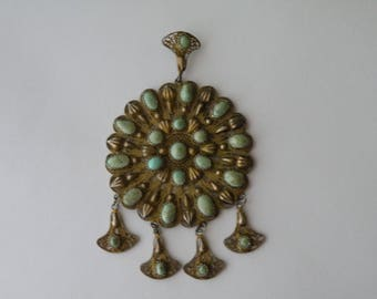 Filigree Large Silver gold wash metal Turquoise Egyptian Revival Pendant