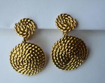 Monet twisted dangle drop gold plated clip-on earrings