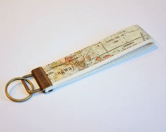 Key fob  - wristlet - World map - expedition - stocking stuffer - teacher gift - under 10 - geography lanyard