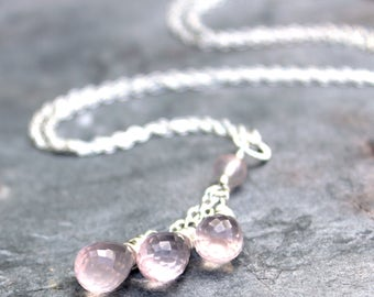 Teardrop Rose Quartz Necklace, Pink briolette Trio of Gemstones, Sterling Silver Rose Quartz Jewelry