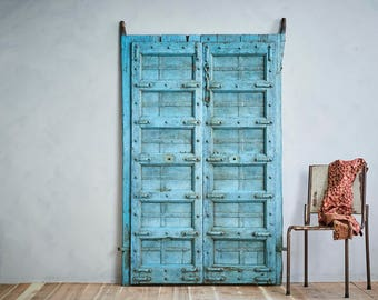 19th Century Antique Turquoise Blue Indian Door Set