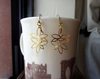 Raw Brass Lotus Earrings, Drop Earrings, Dangle