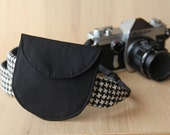 Lens Cap Holder for DSLR Camera Strap - Solid Black - Ready to Ship