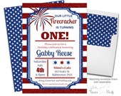4th of July Birthday Invitation, 4th of July Birthday, Fourth of July, 4th of July Party, Americana Invitation, Firecracker Invite