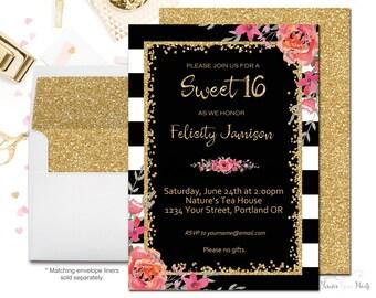 Black and White Sweet 16 Invitation, Girls Sweet Sixteen Invitation, Girls Birthday Invitation, Invitations for Sweet 16, Gold Glitter