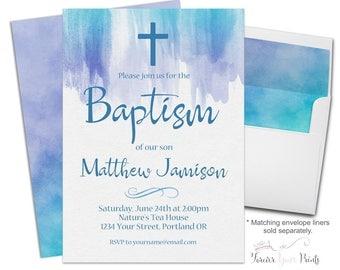Watercolor Baptism Invitation, Boy's Baptism Invite, Printable Baptism Invite, Baptism Invitation Boy, Watercolor Invitation, Christening