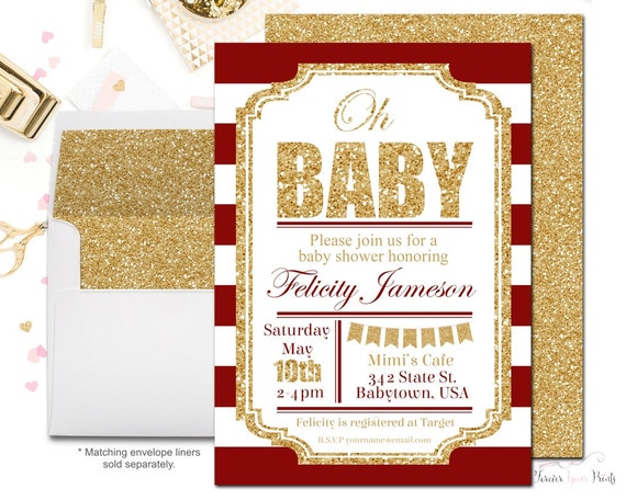 red and gold baby shower invitation girls baby shower invite glitter