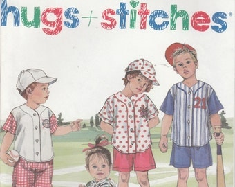Toddler Baseball Shirt Pattern Hat Pants Shorts Girl's Boy's 1 - 4 uncut Simplicity 8317