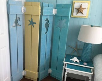 Shutter Screen Room Divider Painted OR Unpainted Beach Cottage Lake Country House Shutter by CastawaysHall