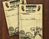 INSTANT DOWNLOAD Vintage Grocer Receipts ... Strawberries / Fruit / Market / Ephemera / Digital Download / Print / Cards / Strawberry / DIY