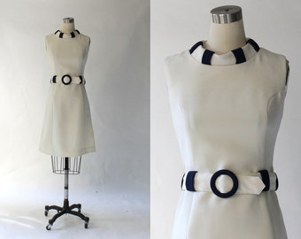 1960s Burt Stanley Knit Dress // 60s Vintage Mod Short White and Navy Blue Belted Day Dress // Medium