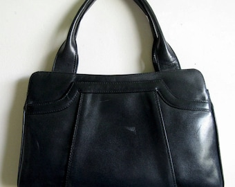Black Vintage 1960s Leather Handbag 60s Purse Made in Italy