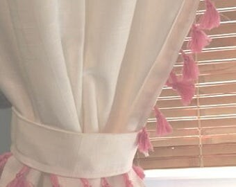Pink Tassel Curtain - other color options